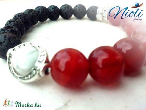 Meska - Elegáns nói karkötő acháttal és lávakővel Niolijewelry kézművestől