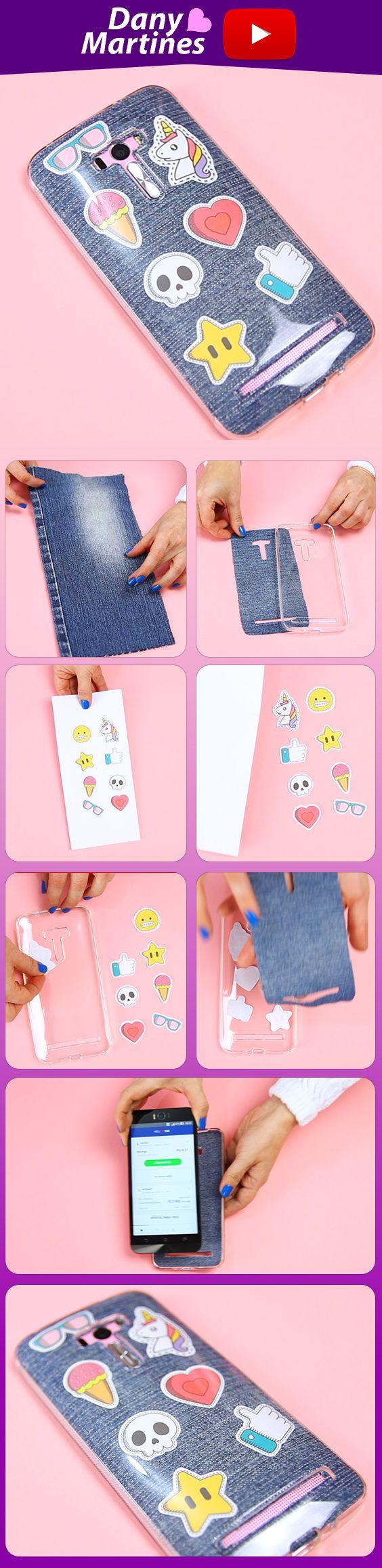 Faça você mesmo uma linda capinha jeans com patches para seu celular, muito fácil, diy , do it yourself, case, funda, unicornio, joinha, like, caveira, TIM