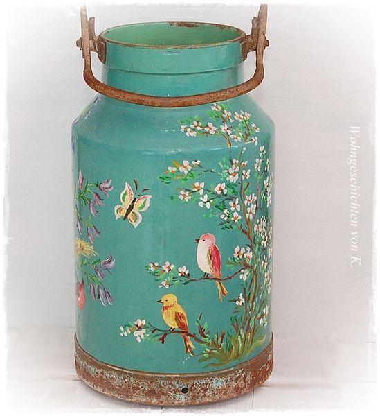Alte Milchkanne ~ #Shabby Chic ~ #Vintage  von #Wohngeschichten von K. auf DaWanda.com