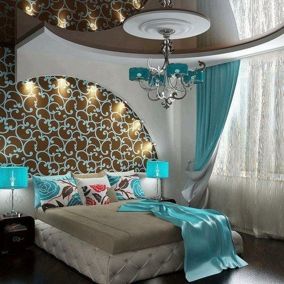 I Love This Modern Elegant And Yet Funky Bedroom With White Turquoise Blue  Tan And Brown