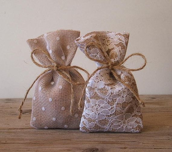 Rustic favor bags (10 pc) burlap favor bags lace tulle wedding favor bag my rustic dream burlap