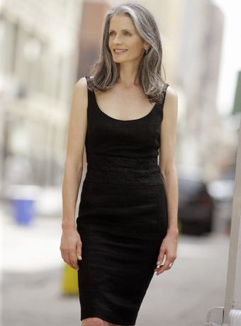 Black dress cover up gray hair
