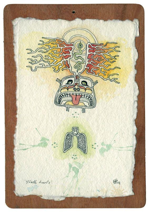 "Original trippy stoner art ""Truth Hurts"" by Chris Richford ink watercolour tribal art native style art surfer art"