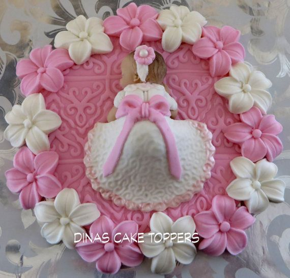Baptism Cake Topper Girl flowers Pink by DinasCakeToppers on Etsy, $45.00