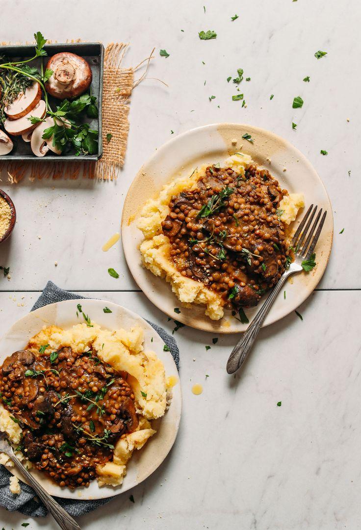 Mushroom Lentil Stew with Mashed Potatoes   Minimalist Baker Recipes