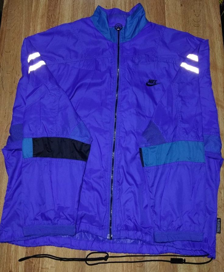Vintage 90s Nike International Retro Windbreaker Jacket Reflective Medium M Blue #Nike
