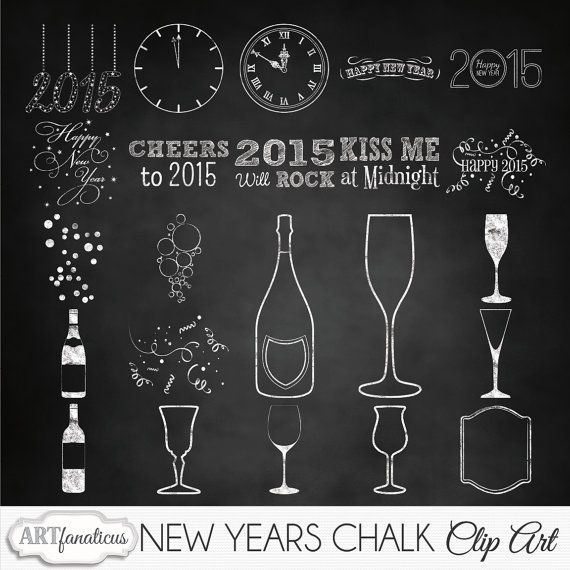Happy New Years Holiday Clipart New Years Chalk Chalk Bottles