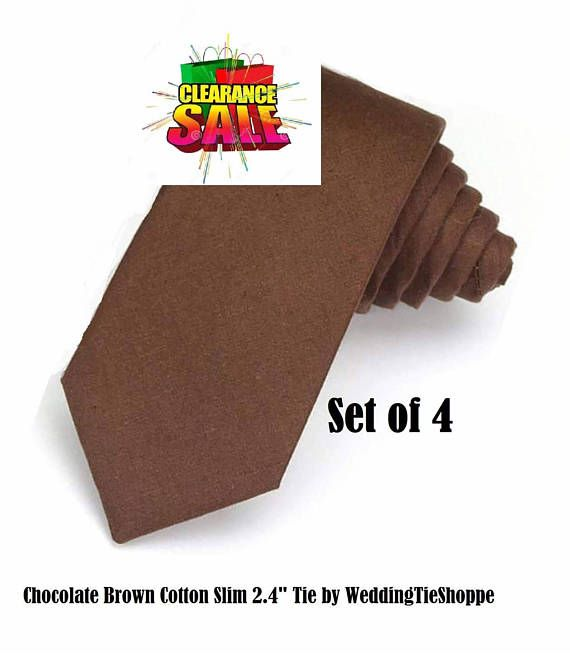 Dark Brown Tie Set of 4 Groomsmen Wedding Necktie Groomsman