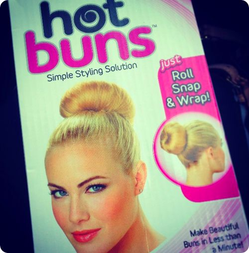 "better than a sock bun - Hot Buns! easy to wrap your hair around and secures the bun perfectly in place. I'm usually skeptical of ""As Seen on TV"" products, but this one really works."