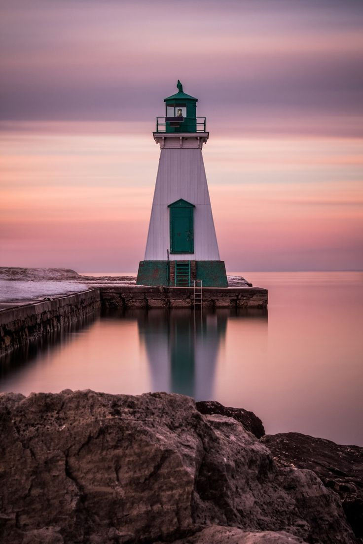 Lighthouse in Port Dalhousie,  the Welland Canal, Ontario Canada. Built in 1852