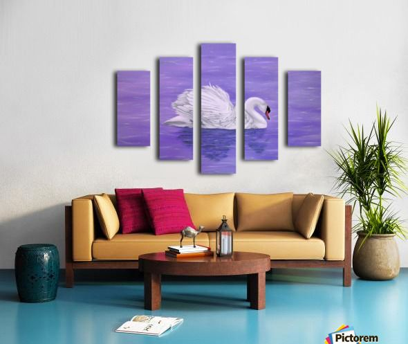 purple, lavender, living room decor, canvas print, split canvas, polyptych, swan, lake, wildlife