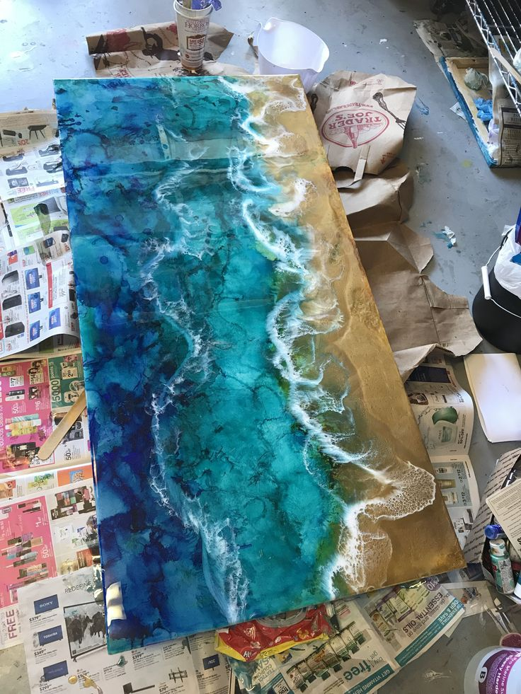 Beach Acrylic Pour Woodworking In 2019 Stylische M 246 Bel