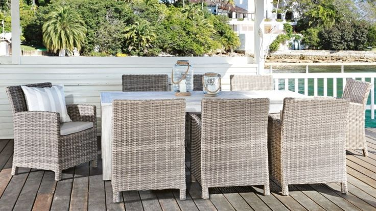 Capella 9 piece outdoor dining setting outdoor living for Outdoor furniture harvey norman