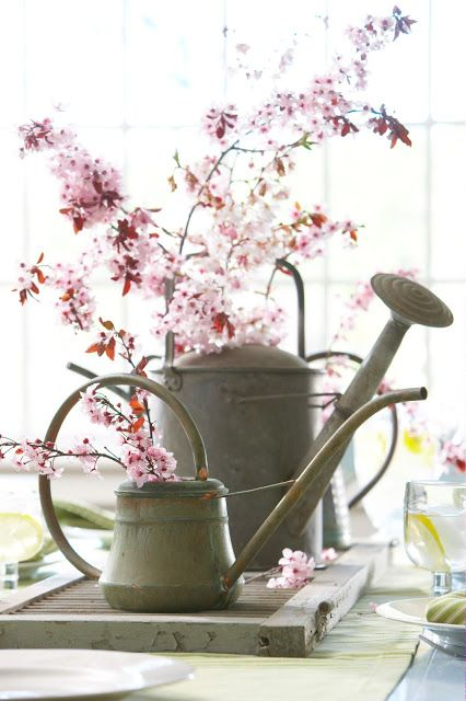 an old shutter and watering cans are repurposed as a table centerpiece- one of 8 picks for this week's Friday Favorites