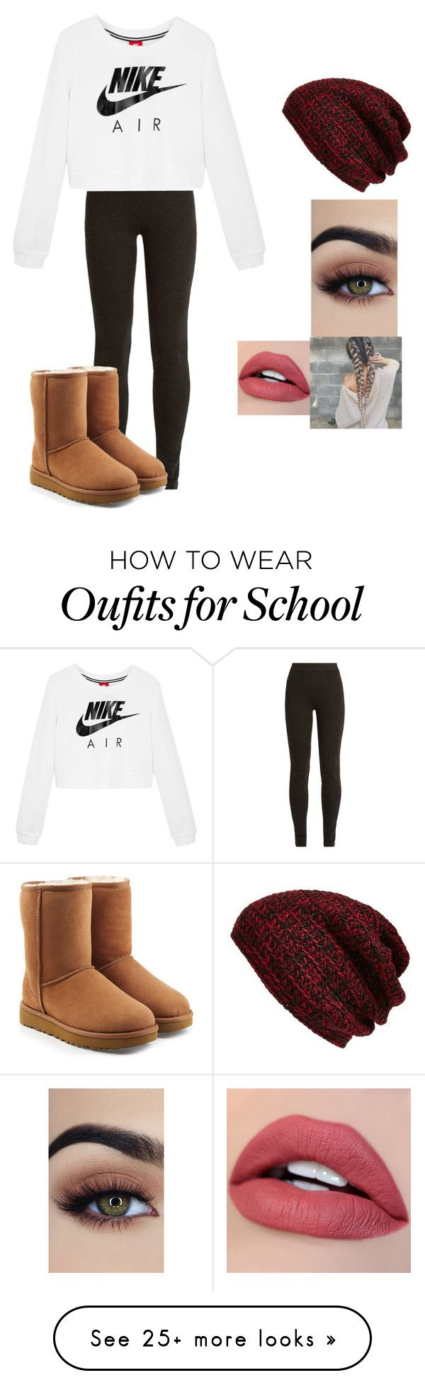 """""""School sucks."""" by km213009 on Polyvore featuring Ryan Roche, NIKE, UGG and King & Fifth Supply Co."""