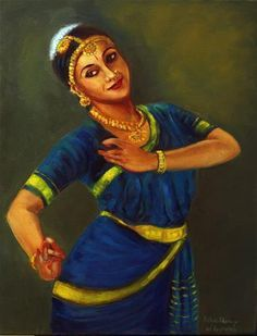 "Daily Paintworks - ""Indian Bharathanatyam Dancer1"" - Original Fine Art for Sale - © Asha Shenoy S"
