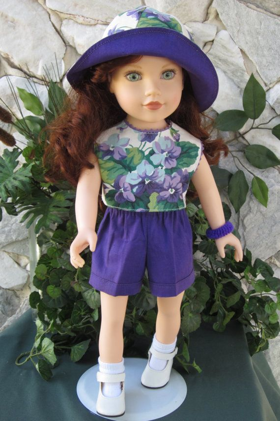 3piece floral & purple shorts outfit for an 18 by TinaDollDesigns, $12.00. SOLD OUT