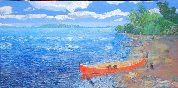 Red Canoe 3 feet x 6 feet Acrylic