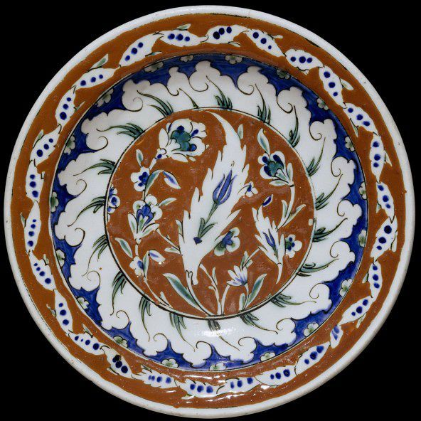 Dish | Made in Iznik, Turkey, ca. 1570-1590 | Materials: fritware, polychrome underglaze painted, glazedFritware, polychrome underglaze painted, glazed | The Metropolitan Museum of Art, New York