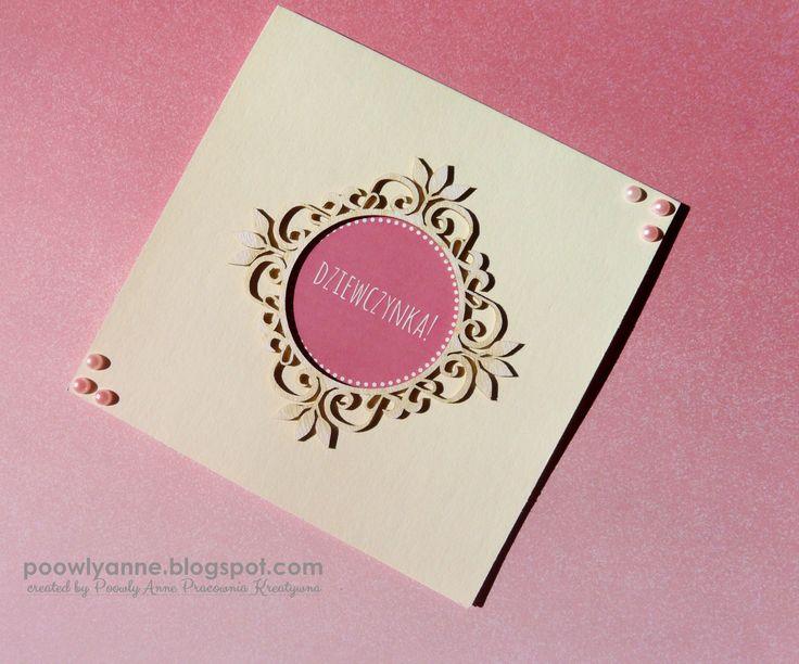 Kartka - ramka #cardmaking #handmade #cards #pink #minimalistic #pink #paperart #girl