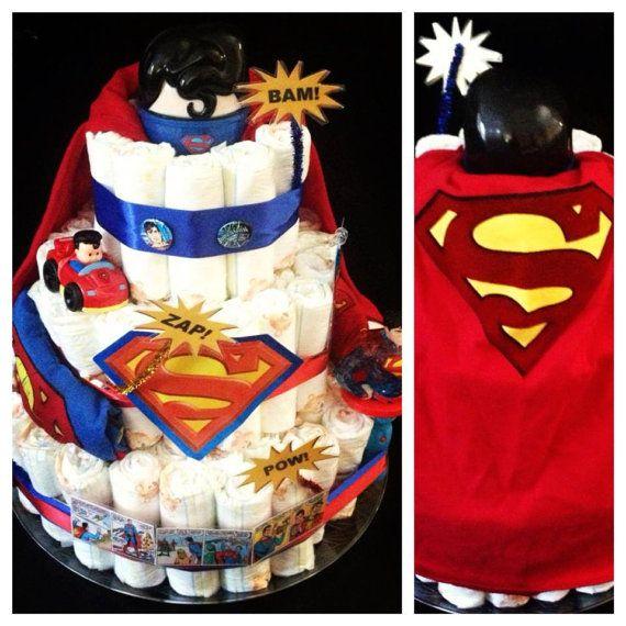 Superman Man Of Steel Diaper Cake By Sassysinger1013 On Etsy