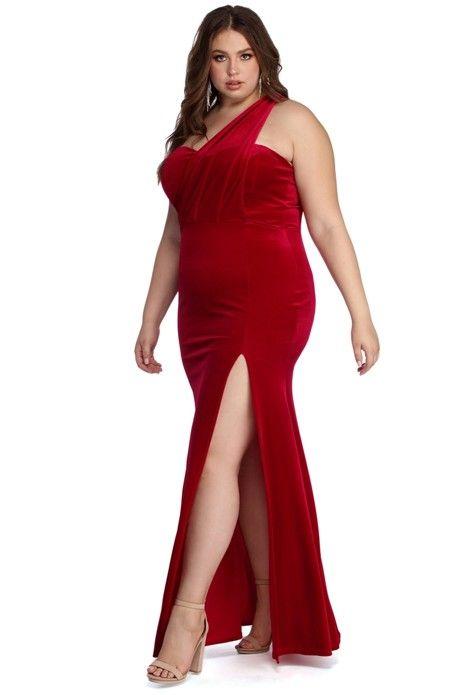008ecdcf9 Plus Iris One Shoulder Draped Velvet Dress in 2019 | Prom dresses(bailey  Carr) | Beautiful red dresses, Dresses, Prom dresses