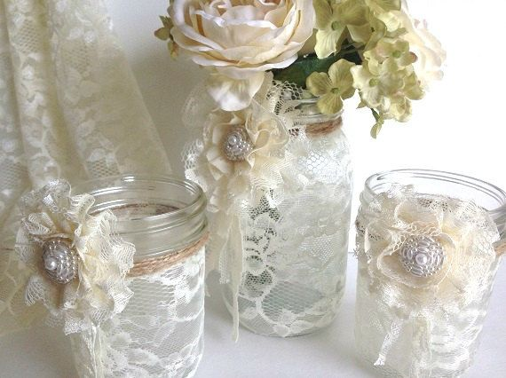 3 piece lace covered mason jars with adorable lace by PinKyJubb