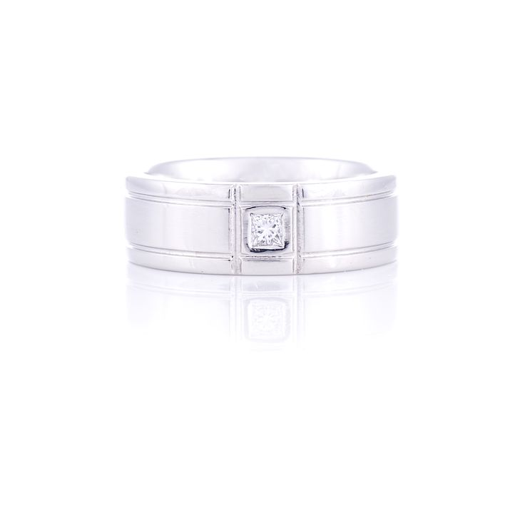 Men's Platinum diamond set Wedding Band