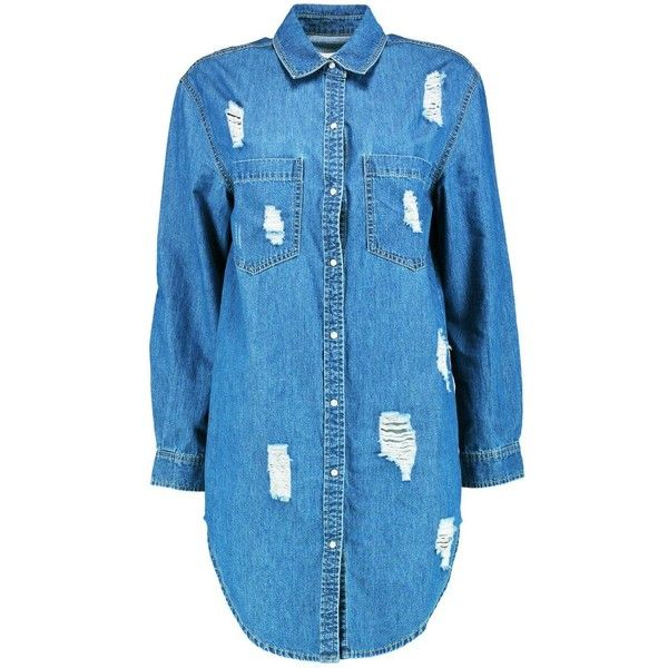 Boohoo Claudia Oversize Distress Denim Shirt Dress | Boohoo ($44) ❤ liked on Polyvore featuring dresses, blue shirt dress, blue dress, oversized t-shirt dresses, lined dress and lining dress
