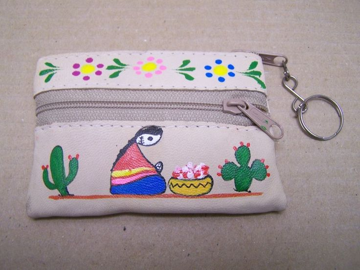 Day of the Dead Painted Leather Coin Purse - Skeleton Woman and Cactus - Peru
