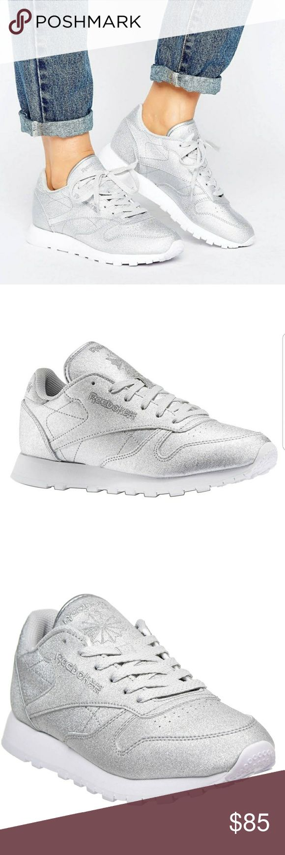 NEW REEBOK GLITTER CLASSIC LEATHER SNEAKERS Brand New in box Reebok Classic Silver Glitter Sneakers.   Women's Size 7.5 FAST SHIPPING!! Reebok Shoes Sneakers