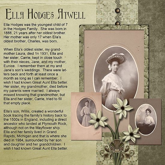 heritage scrapbook page....I like the idea of doing the life story on one side and some pictures on the other.