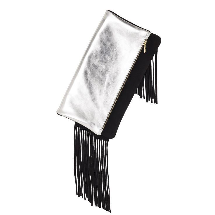 Sarah Baily | Georgia Fold over clutch - Silver leather / suede