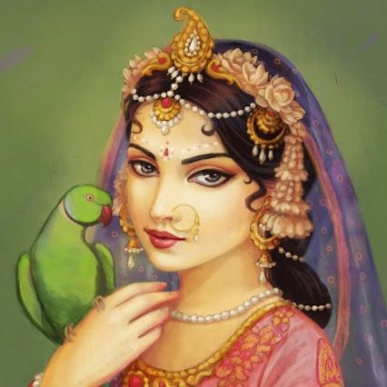 Radha with parrot