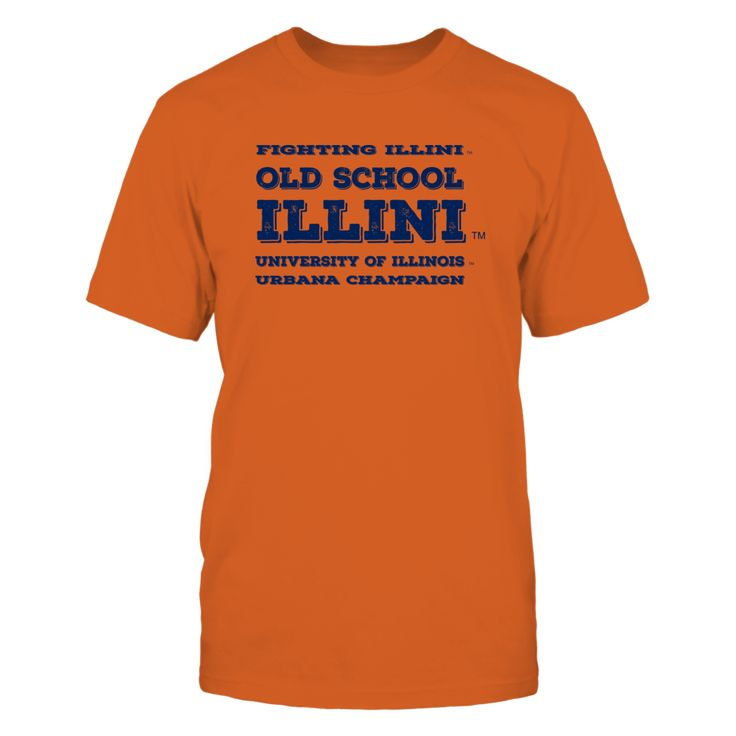Old School Illini - light Front picture Illinois Fighting Illini fan. This t-shirt is a wonderful gift for you, your father, brother, sister, mother, grandfather, grandmother, aunt, uncle, fire boy, niece for parties, birthday, Father's Day, Thanksgiving, Christmas, New Year