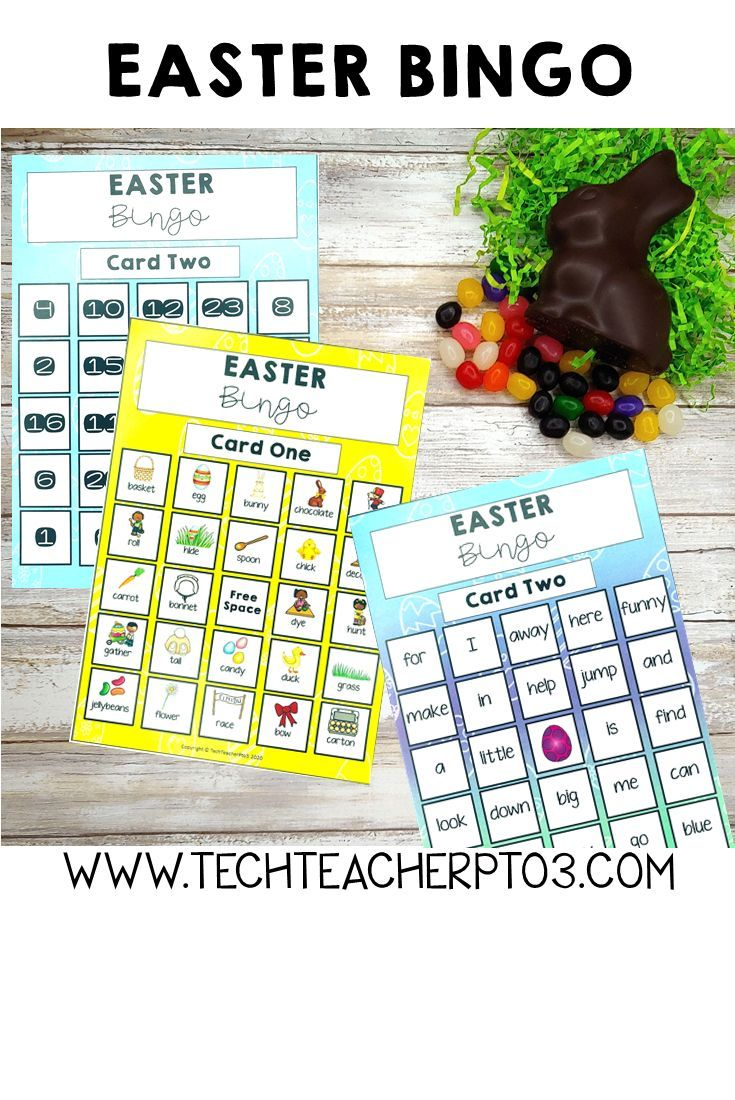 Easter Bingo Sight Words Objects and Number in 2020