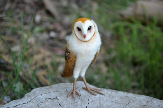 Needle Felted baby barn Owl  by Harthicune by Harthicune on Etsy