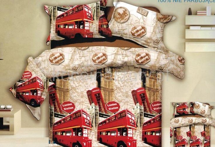 Miasto Londyn beżowa pościel z mikrwłókna