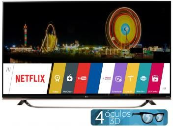 """Smart TV LED 4k Ultra HD 3D 65"""" LG 65UF8500 - Conversor Integrado 3 HDMI 3 USB Wi-Fi 4 Óculos"""