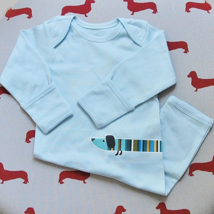 Dachshund Sausage Dog bodysuit onesie long sleeve & leg blue size 0-3 months
