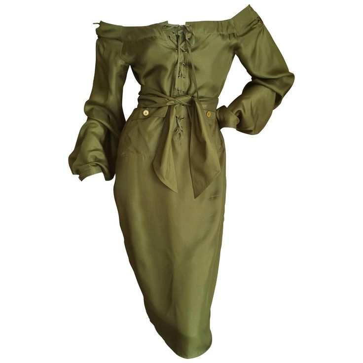 Tom Ford for Yves Saint Laurent Silk Safari Dress | From a collection of rare vintage day dresses at https://www.1stdibs.com/fashion/clothing/day-dresses/