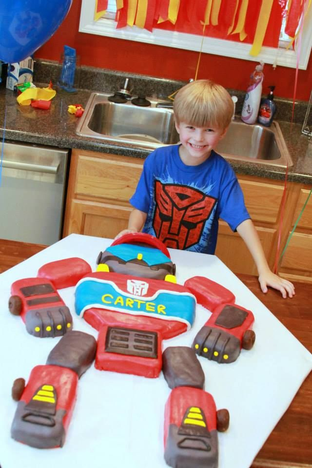 Heatwave Rescue Bot cake for my son's 5th birthday. It was a HUGE cake!