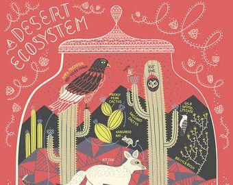 A Rainforest Ecosystem: Terrarium Art Print