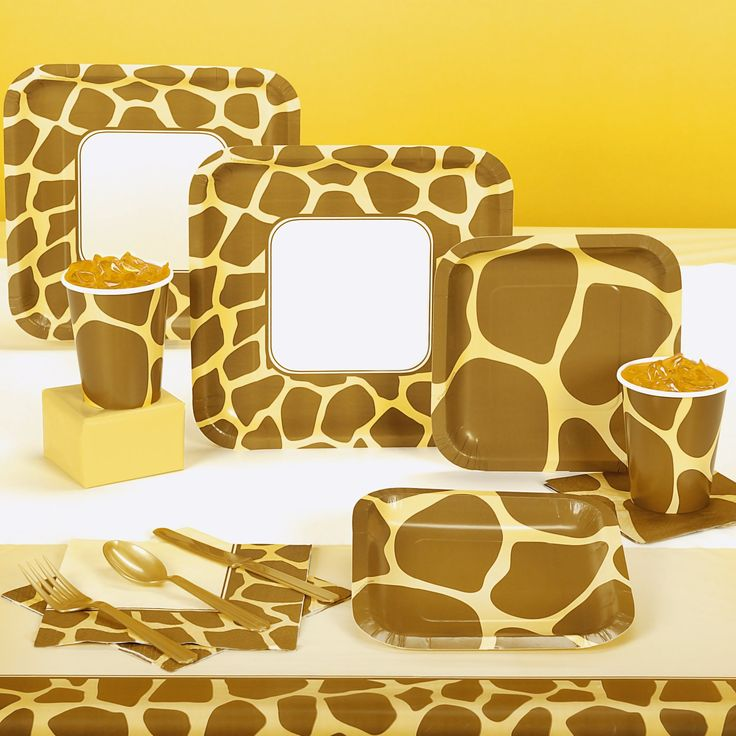 Animal print giraffe party supplies jungle theme baby for Animal print party decoration ideas