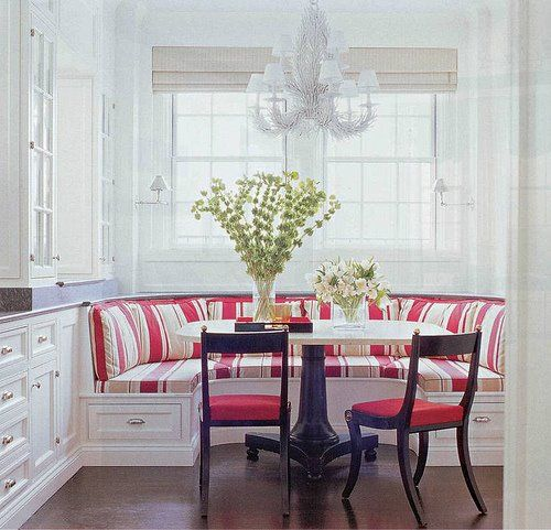 Booth Dining Tables For Home | preppy kitchen booth with extra storage  below is always handy