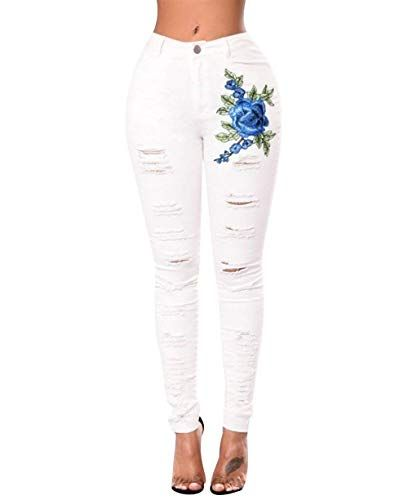 5784e9d20b3f Skinny Jeans Hosen Damen High Waist Jeanshosen Stretch Zerrissene ...