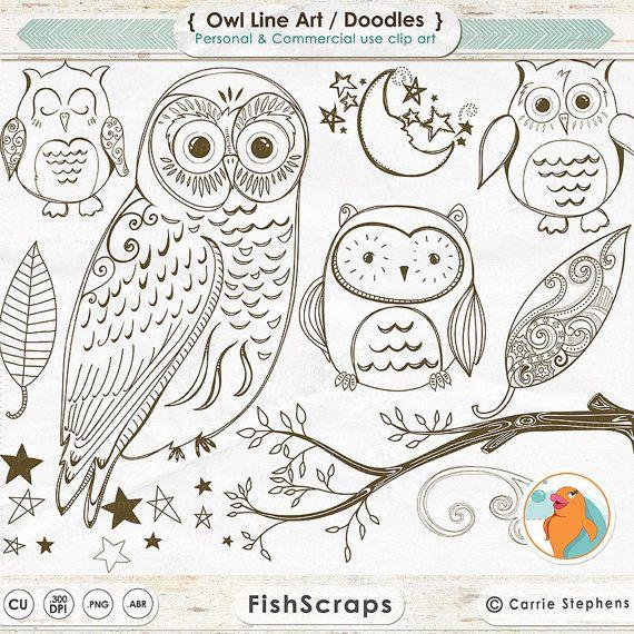 Contorni di timbro digitale gufo, gufo sveglio di bosco riga arte, PNG Doodle + Photoshop pennello, ricami a mano gufo Clip Art Pattern scaricare