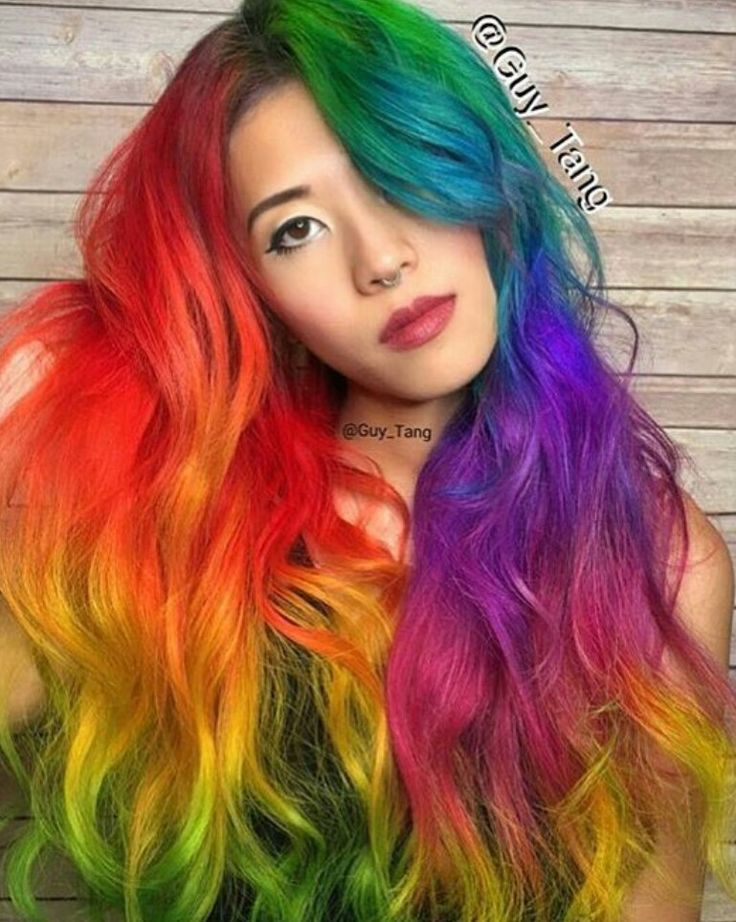 Red rainbow dyed hair color