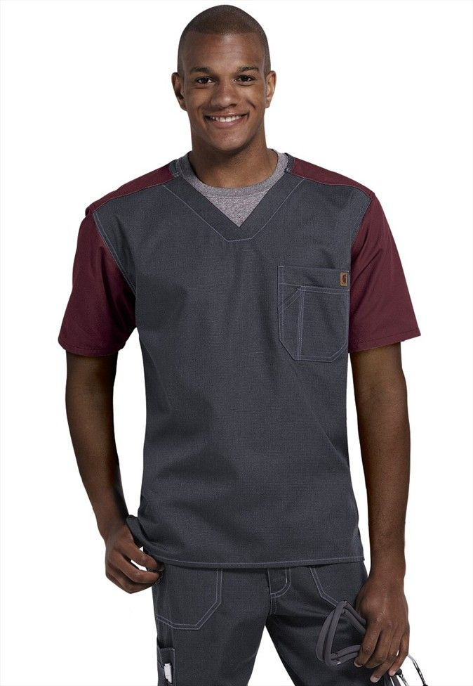 Carhartt mens contrast v-neck scrub top #scrubsandbeyond #scrubs #uniforms #nurse #men