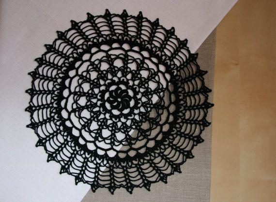 Black elegant crochet doily